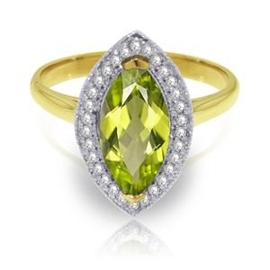 SOLID GOLD RING WITH DIAMONDS & MARQUIS PERIDOT